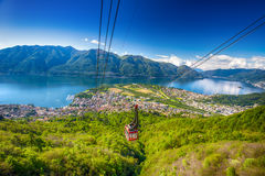 Cable Car leading to Cardada mountain from Locarno, Swiss Alps, Switzerland Stock Photos