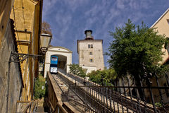 Cable car lift in Zagreb - way to upper town. Historic cable car lift in Zagreb, capital of Croatia - way to upper town Stock Photography