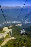 Cable car line in Sochi. Red glade, winter Olympic Games 2014 stock images
