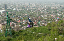 Cable car line to Kok-Tobe Mountain in Almaty Royalty Free Stock Images