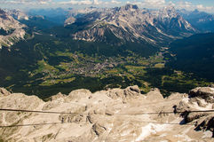 Cable car lines. Running downwards from Tofane, Cortina d'Ampezzo Royalty Free Stock Photo