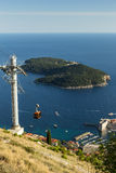 Cable car and Lokrum Island in Dubrovnik Royalty Free Stock Photo