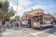 Cable Car in Lombard street Royalty Free Stock Images