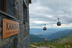Cable car in low tatras. Cable car and chalet in the Low Tatras at the Chopok mountain in Slovakia Royalty Free Stock Photo