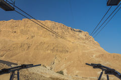 Cable Car in Masada Ruins in Israel Stock Photo