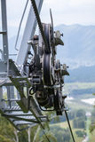 Cable car. Mechanism the cable car. Rope road Royalty Free Stock Photo