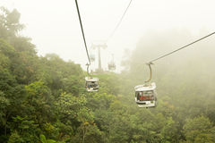Cable car in the mist royalty free stock photos
