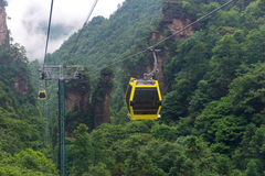 cable car with mist in Tianmen mountain zhangjiajie national par Stock Photo