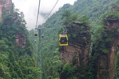 cable car with mist in Tianmen mountain zhangjiajie national par Stock Photos