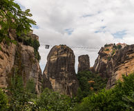 Cable car between monasteries Meteora Royalty Free Stock Photography