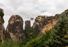 Cable car between monasteries Meteora Stock Photography