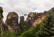 Cable car between monasteries Meteora Stock Photography