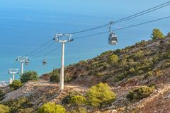 Cable Car on Mount Calamorro, Benalmadena, Spain. Cable Car to Mount Calamorro near Benalmadena on September 3, 2017 in Andalucia, Spain royalty free stock images