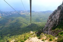 Cable car on mountain Aj-Petri. Crimea, Ukraine Stock Photography