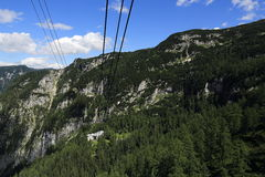 Cable car, the mountain scenery around Bergstation Krippenstein, Salzkammergut, Salzburg, Austria Royalty Free Stock Photos