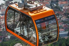 Cable car on the mountain Sdr in Dubrovnik. Croatia stock photos