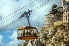 Cable car on the mountain Sdr in Dubrovnik. Croatia royalty free stock photography