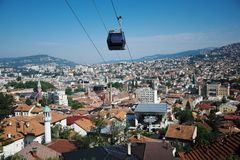 Cable Car Moving Down To Sarajevo Station, Bosnia And Herzegovina royalty free stock photos