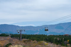 Cable car moving over the forest. Royalty Free Stock Image