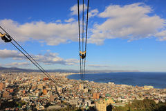 Cable car of Mt. Hakodate ropeway cityscape view Stock Image
