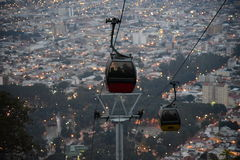 Cable car night view, Overlooking of salta city, argentina. Cable car, Overlooking of salta city, argentina. By sunset stock images