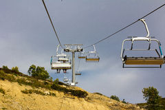 Cable car open road in the mountains Royalty Free Stock Photo