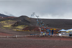 Cable Car in Osorno Volcano in nasty weather, Chile Royalty Free Stock Photo