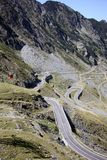 Cable car over alpine road in Fagaras Royalty Free Stock Images