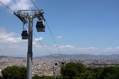 Cable Car over Barcelona royalty free stock photos