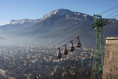 Cable car over Grenoble and Vercors mountains Royalty Free Stock Photography