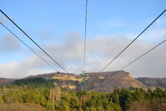 Cable car over a miountain Royalty Free Stock Photography