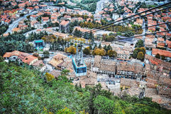 Cable car over San Marino in hdr Royalty Free Stock Images