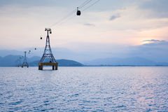 Cable Car over sea. One of the worlds longest cable car over sea leading to Vinpearl Amusement Park, Nha Trang, Vietnam Royalty Free Stock Image