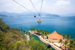Cable Car over sea, view from cabin. One of the worlds longest cable car over sea leading to Vinpearl Amusement Park, Nha Trang, Vietnam Stock Photography