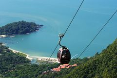 Cable Car overseeing beautiful seascape Stock Photography