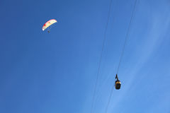 Cable Car and Paraglider Royalty Free Stock Image