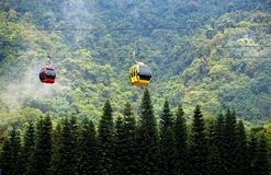 Cable Car Passes by a Mountain Royalty Free Stock Photos