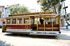 Cable Car passes the Powell street Stock Photo