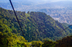 Cable car. The path of the cable car in el Avila National Park, Caracas, Venezuela Royalty Free Stock Images
