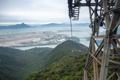 Cable car pole with beautiful panorama view background from cable car royalty free stock photography
