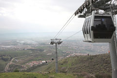 Cable car and pole in the city of Ordu Royalty Free Stock Photo