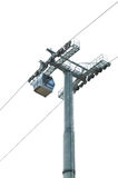 Cable car and pole on white Royalty Free Stock Images