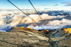 Cable car poles on mountain Royalty Free Stock Photography