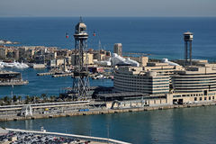 Cable car of the port of Barcelona. Cable car that crosses the port of Barcelona from Montjuic's mountain Stock Images