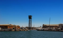 Cable car in port, Barcelona. Cable car in the port of Barcelona, Spain stock photo