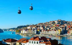 Cable car of Porto, Portugal. View of Porto Old Town with cable car on foreground. Portugal stock images
