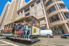 Cable Car Powell-Mason lines. San Francisco, California, United States - August 17, 2016: The popular Cable Car of San Francisco, Powell-Mason Lines, full of Stock Photography