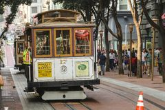 Cable car at Powell Street in San Francisco royalty free stock photos