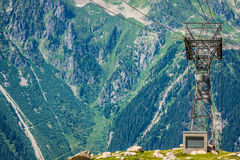 Cable car pylon on the chamonix mont blanc Royalty Free Stock Photos