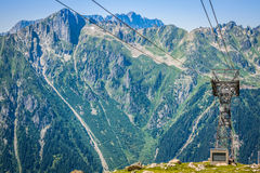Cable car pylon on the chamonix mont blanc Royalty Free Stock Images